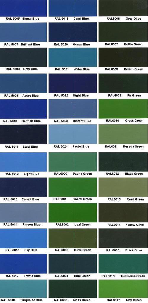 Ral Color Chart Ral Colour Chart